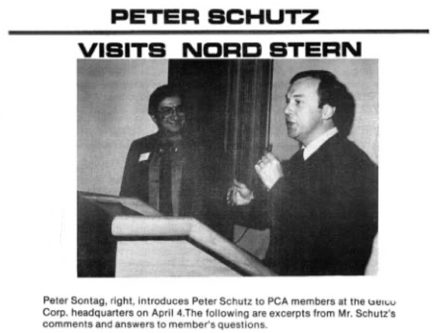 Nord Stern History Post 27  Peter Schutz 1981 Visit